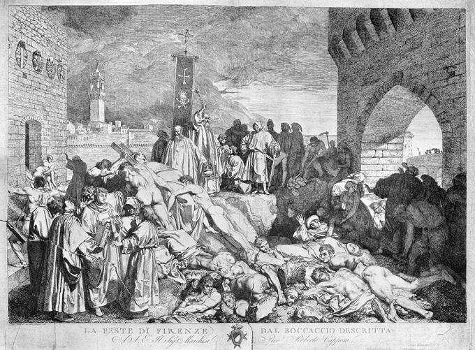 Etching showing plague victims