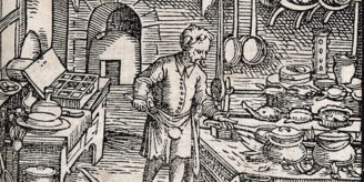 Woodcut of man in kitchen