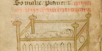 Manuscript illustrated with baby in a cradle