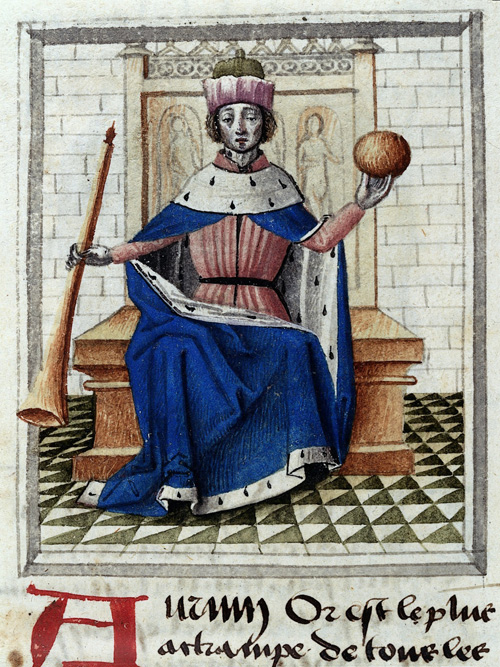 Image of figure with gold orb in medieval manuscript.
