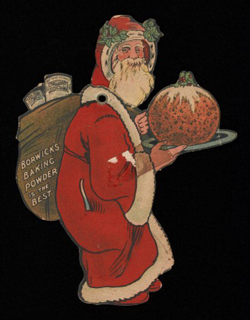 L0040415 Advert for Borwick's Baking Powder Credit: Wellcome Library, London. Wellcome Images images@wellcome.ac.uk http://wellcomeimages.org Advert for Borwick's Baking Powder showing Father Christmas carrying a large Christmas pudding on a tray. The head of Father Christmas is movable c. 1900's Ephemera Collection Published: - Copyrighted work available under Creative Commons Attribution only licence CC BY 4.0 http://creativecommons.org/licenses/by/4.0/