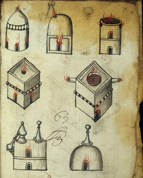 Manuscript image of alchemical furnaces.