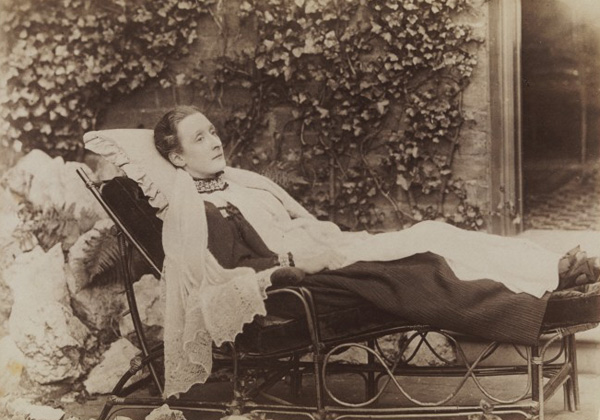 "L0071524 An invalid lady reclining outdoors on a chaise longue Credit: Wellcome Library, London. Wellcome Images images@wellcome.ac.uk http://wellcomeimages.org An invalid lady reclining outdoors on a chaise longue. Photograph by J.A. Draycott, 189-. Lettering: Draycott. Under the patronage of H.R.H. the Prince of Wales. The Duke & Duchess of York. Reprints can always be obtained Lettering note: Pencil inscription on verso of mount of print catalogued: ""Mrs E. Richards 1896 not well"" Credits J.A. Draycott is recorded at 82 New Street, Birmingham, ca. 1889 and 1892. John A. Draycott is recorded at Leicester Square, Walsall, in 1896 and 1900. Brown & Draycott are recorded at 11 Gold St., Northampton, in 1885 189u By: John A. DraycottAn invalid lady reclining outdoors on a chaise longue. Photograph by J.A. Draycott Published: [between 1890 and 1899?] Copyrighted work available under Creative Commons Attribution only licence CC BY 4.0 http://creativecommons.org/licenses/by/4.0/"