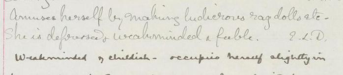 Psychiatric casenotes 1885-1907