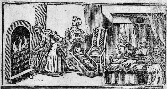Image of childbirth in early printed book.
