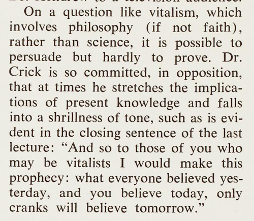 'Of Molecules and Men' review by Joseph Mindel in Technology Review, April 1967. Wellcome Library reference: PP/CRI/I/2/6/6.
