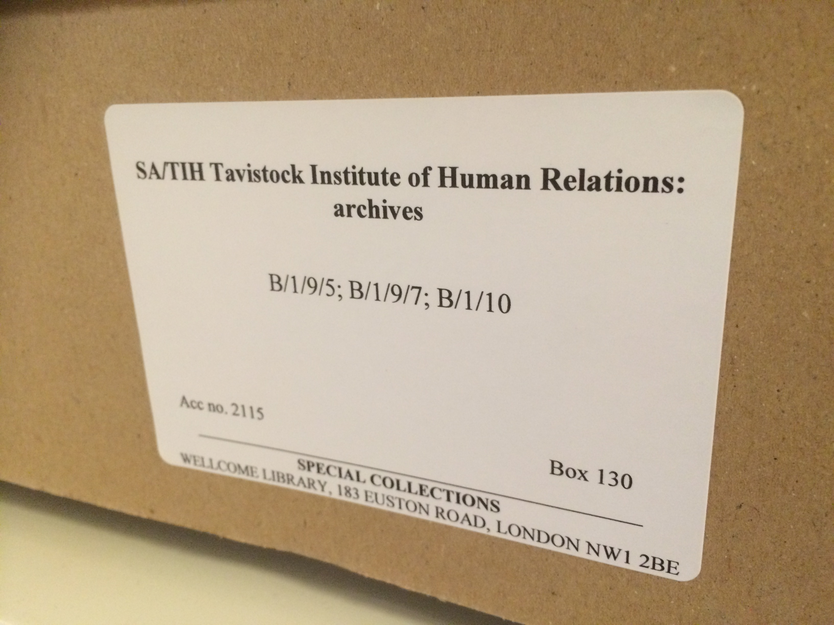 Box 130, Tavistock Institute of Human Relations archive (SA/TIH)
