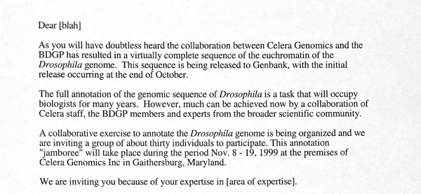 A draft letter of invitation to the Celera Jamboree, 1999
