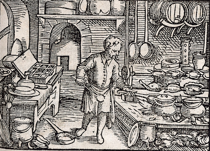 Woodcut of man in kitchen.