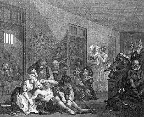 Rakes Progress Bedlam scene engraving by W Hogartht