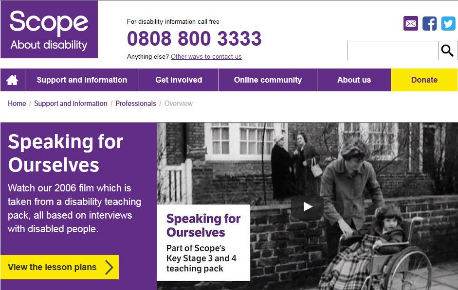 Scope charity website, December 2015