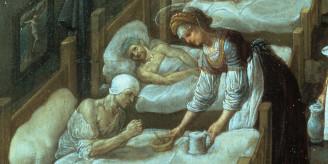 St Elizabeth feeding sick man.