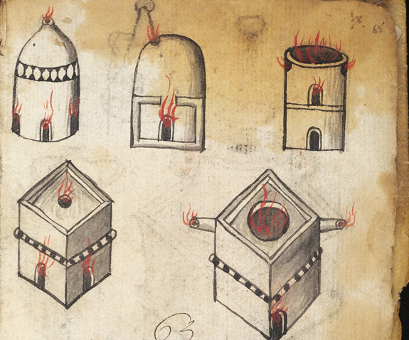 Images of alchemical furnaces.