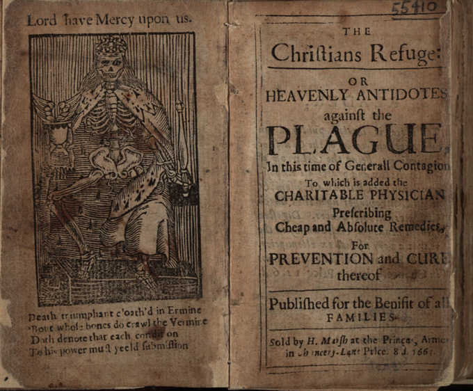 Frontispiece and title-page of plague tract 1665.