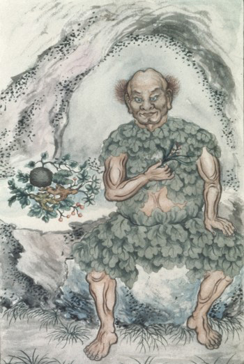 Watercolour of Shen Nung, Chinese deity of Medicine etc. Credit: Wellcome Library, London. Wellcome Images images@wellcome.ac.uk http://wellcomeimages.org Shen Nung, Chinese deity of Medicine, Pharmacy and Agriculture. Copied from an old painting in Shanghai by a Chinese artist. The god is seated at the mouth of a cave, dressed in his traditional garb made from leaves, holding in the right hand a branch with leaves and berries, the virtues of which he has been demonstrating. Watercolour 1920 Published:  -  Copyrighted work available under Creative Commons Attribution only licence CC BY 4.0 http://creativecommons.org/licenses/by/4.0/
