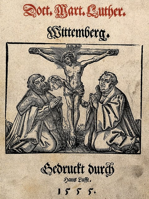 Frederick III, Elector of Saxony, and Martin Luther kneeling at the feet of Christ on the cross. Woodcut, 1555. Wellcome Library no. 567391i. Public domain.