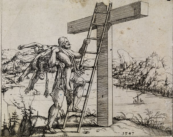 Christ ascending the cross. Etching by Augustin Hirschvogel, 1547. Wellcome Library, London, no. 2020587i. Public domain.