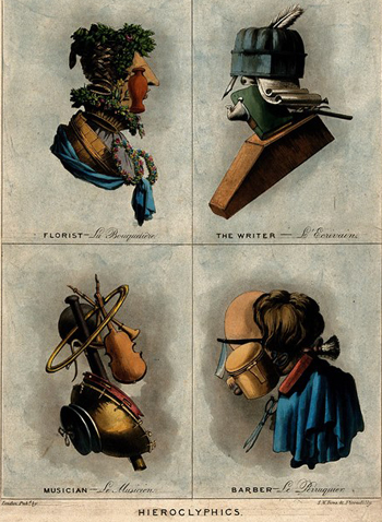 V0049770 Portraits made of tools; florist, writer, musician & barber. Coloured aquatint, ca. 1800. Wellcome Library no. 573255i. Credit: Wellcome Library, London. Wellcome Images images@wellcome.ac.uk http://wellcomeimages.org Coloured print showing portraits of professions with the features made up of the tools of their trade. Lettering; Heiroglyphics Florist La Bouquetiere, The Writer L'Ecrivain, Musician Le Musicien, Barber Le Perruquier. London pub'd by S. W. Fores, 41 Piccadilly. 1800 Published: [ca. 1800?] Copyrighted work available under Creative Commons Attribution only licence CC BY 4.0 http://creativecommons.org/licenses/by/4.0/