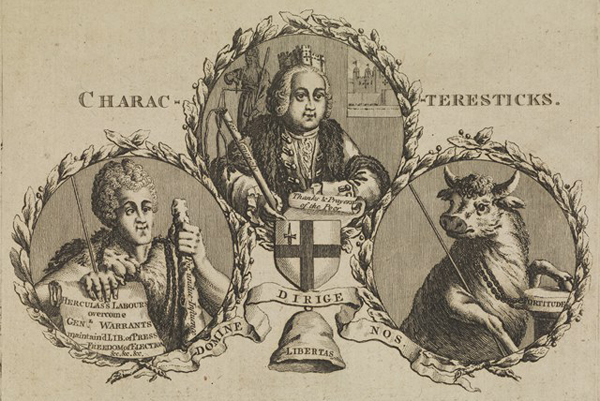 L0074560 Three figures within laurel wreathes Credit: Wellcome Library, London. Wellcome Images images@wellcome.ac.uk http://wellcomeimages.org Three figures within laurel wreathes: Lord Mayor Crosby, John Wilkes and Fred Bull. Lord Mayor Crosby wearing his civic mural crown, John Wilkes as Hercules and and Fred Bull as a bull wearing an alderman's chain. Wilkes holds up a scroll which is inscribed 'Hercules labours overcome gen.l warrants maintain'd. Lib. of Press. Freedom of election etc. etc. etc.' His club is inscribed 'Fox under influence', referring to Charles James Fox. The Lord Mayor rests on a scroll inscribed 'thanks and prayers of the poor'; his staff is inscribed 'for monopoly'; in the background is the Tower of London, and below him is the shield of the Corporation of London. The bull rests a hoof on a pillar of 'fortitude'; the cap of liberty below the figures is inscribed 'Libertas. Engraving 1772 Published: [1 Jan. 1772] Copyrighted work available under Creative Commons Attribution only licence CC BY 4.0 http://creativecommons.org/licenses/by/4.0/