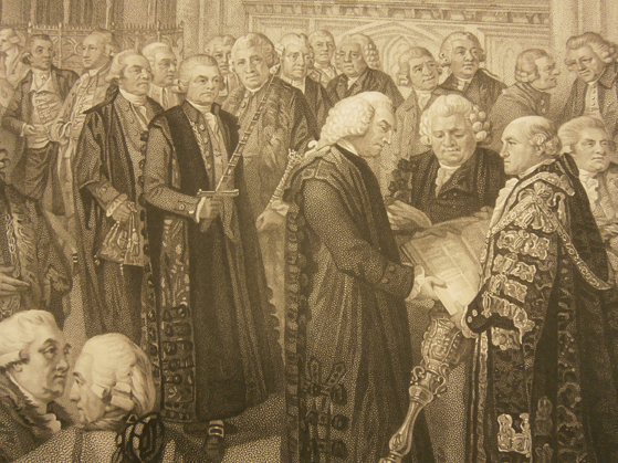 Detail of: Nathaniel Newnham taking the oaths of office as Lord Mayor of London in 1782. Stipple engraving by Benjamin Smith, 1801, after William Miller. Wellcome Library no. 2848107i