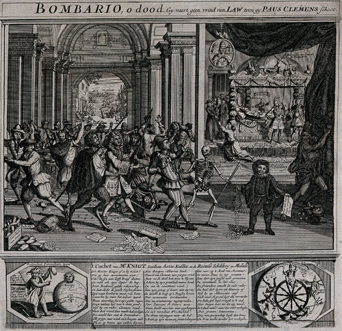 V0048238 The burghers of the Dutch Republic are celebrating the death Credit: Wellcome Library, London. Citizens of the Dutch Republic celebrating the death of Pope Clement XI. Wellcome Library no. 42557i The burghers of the Dutch Republic are celebrating the death of Pope Clement XI; they are led by Death and devils to a picture showing the dying Clement XI and the new pope, Innocent XIII. Etching. Published: - Copyrighted work available under Creative Commons Attribution only licence CC BY 4.0 http://creativecommons.org/licenses/by/4.0/