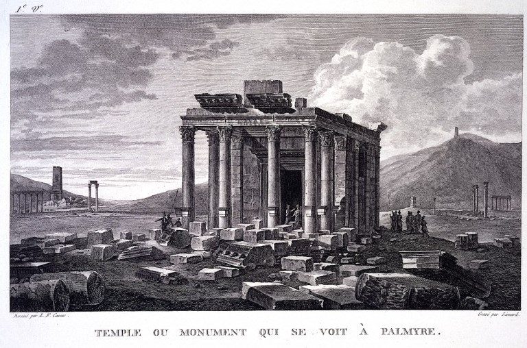Palmyra, Syria: the temple of Baalshamin. Engraving by J.B. Liénard after L.F. Cassas. Wellcome Libraryno. 2851414i. Photo: public domain