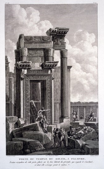 Palmyra, Syria: west door of the temple of Bel (temple of the sun). Engraving by J.B. Reville and P.G. Berthault after L.F. Cassas. Wellcome Library 2851402i. Photo: public domain