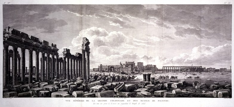 Palmyra, Syria: the colonnade, with the temple of Bel (temple of the sun) in the background. Engraving by G. Malbeste and R. Daudet the younger after L.F. Cassas. Wellcome Library 2851421i. Photo: public domain