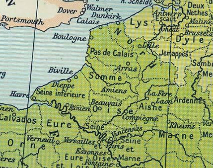 Map of Northern France from Calais in the north to Paris in the south. 1811. Image credit: Wiki