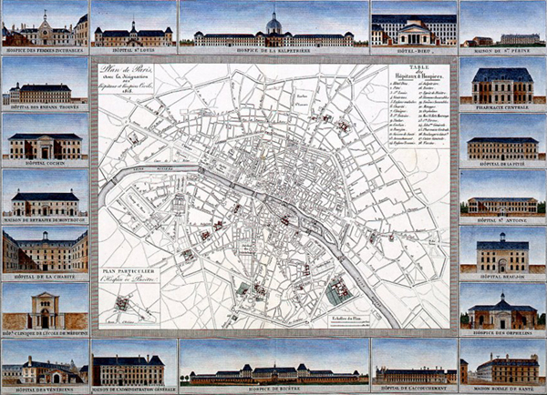 map of the hospitals in Paris in 1820