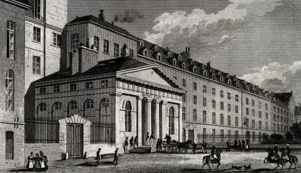 V0014308 The Hôtel Dieu, Paris. Line engraving by R. Wallis, 1830, af Credit: Wellcome Library, London. Wellcome Images images@wellcome.ac.uk http://wellcomeimages.org The Hôtel Dieu, Paris. Line engraving by R. Wallis, 1830, after B. Ferrey after A. Pugin. 1830 By: Benjamin Ferreyafter: Robert Wallis and Augustus Charles PuginPublished: 15 February 1830 Copyrighted work available under Creative Commons Attribution only licence CC BY 4.0 http://creativecommons.org/licenses/by/4.0/
