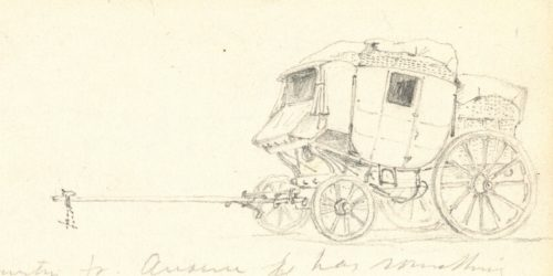 A pencil sketch of an empty stagecoach, without any horses harnessed to it