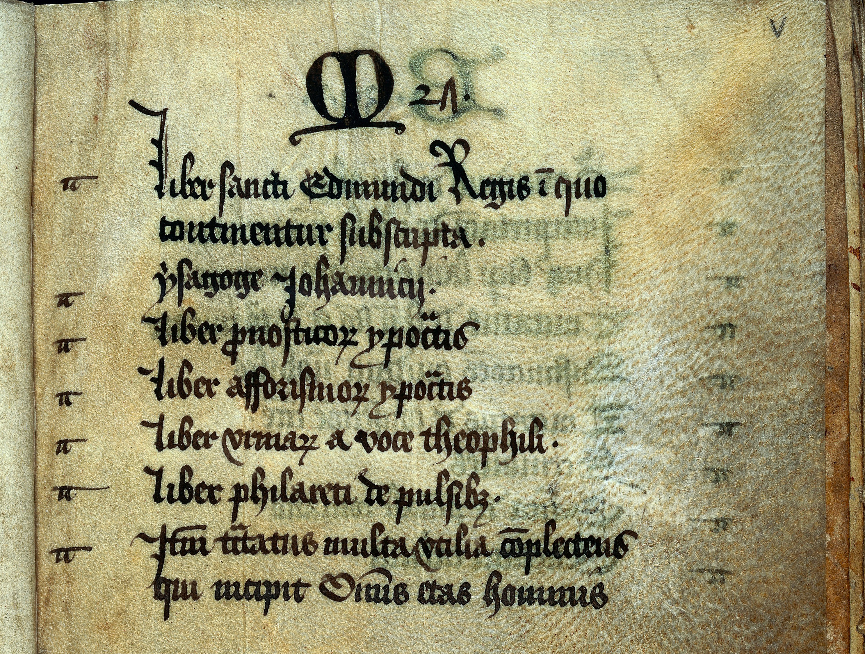 Table of contents in medieval manuscript