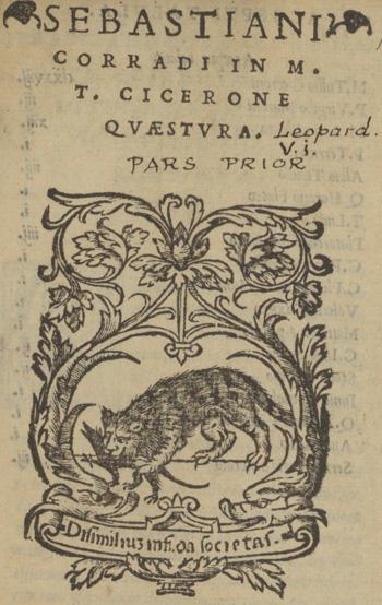 Title page of Sebastiano Corrado, In M.T. Cicerone quaestura (1537)