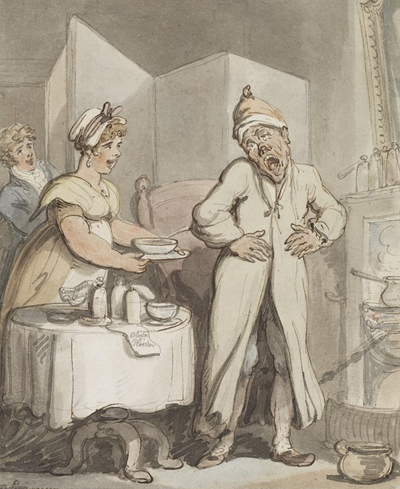 A man in pain receiving medicines from a housemaid. Watercolour by Thomas Rowlandson (1756-1827). Wellcome Library reference no. 2065026i.