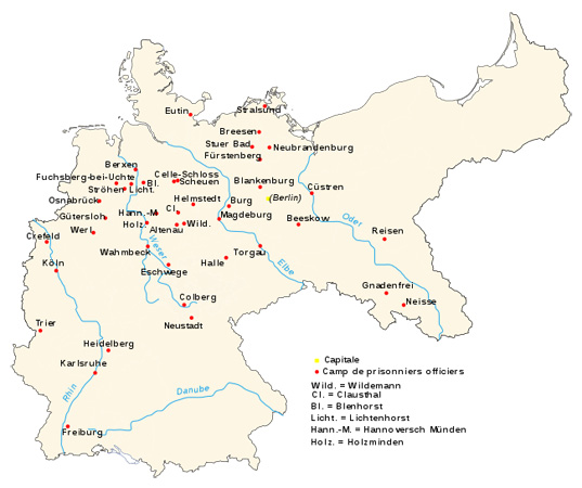 Locations of German POW camps of principal officers
