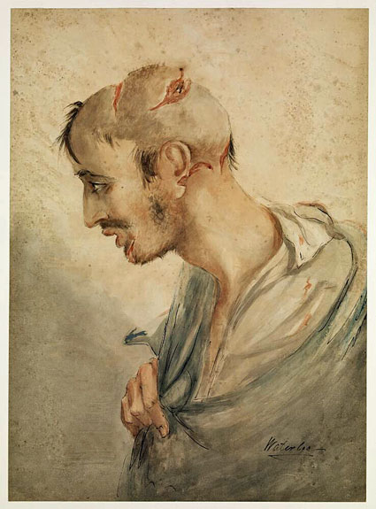 watercolour by Charles Bell of injured soldier at Waterloo