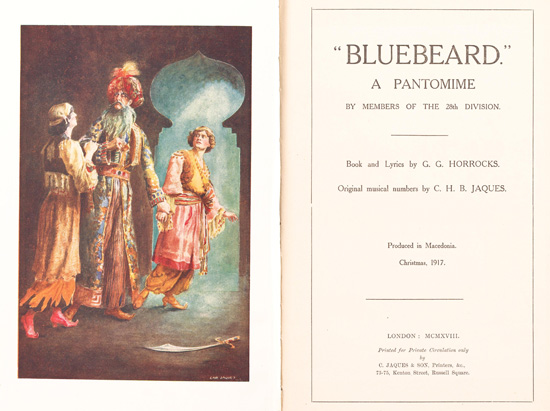 Bluebeard. Bluebeard: a pantomime by members of the 28th Division, produced in Macedonia, Christmas 1917