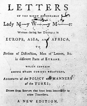 Lady Mongague Letters 1785.