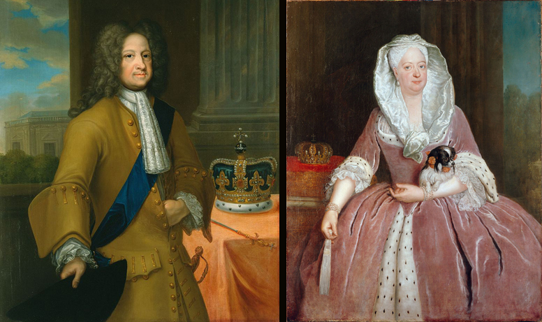 portrait of George I in the 1720s by Georg Wilhelm Lafontaine (Royal Collection) and : portrait of Sophia Dorothea of Hanover (1687-1757), Queen of Prussia, by Antoine Pesne, 1737 (Charlottenburg Palace). Image source: Wikimedia Commons.