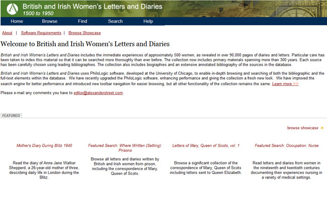 British and Irish Women's Letters and Diaries