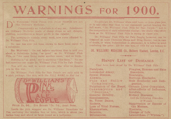 Inside back cover of 'The Queen's Gift', a warning about counterfeit versions of Dr Williams' Pink Pills