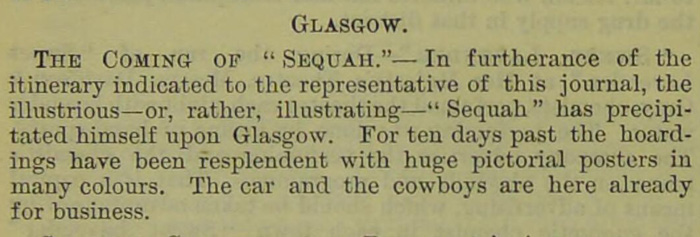 Announcement for Sequah's arrival in Glasgow, 1889