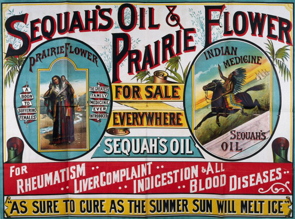 Advertisement for Sequah's Oils and Prarie Flower, ca. 1890