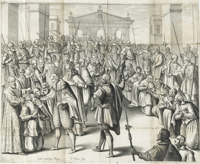 Scene of amazed people, 1609.