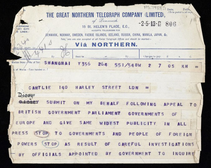 Telegram from Sun Yat Sen. Wellcome Images No.L0040636.
