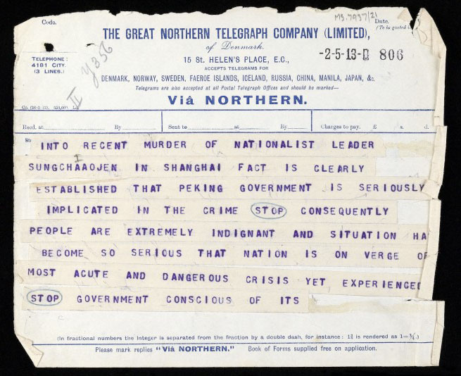 Telegram from Sun Yat Sen. Wellcome Images No.L0040637.