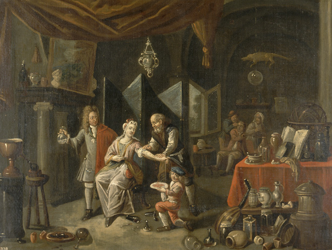 Painting of surgeon bloodletting.