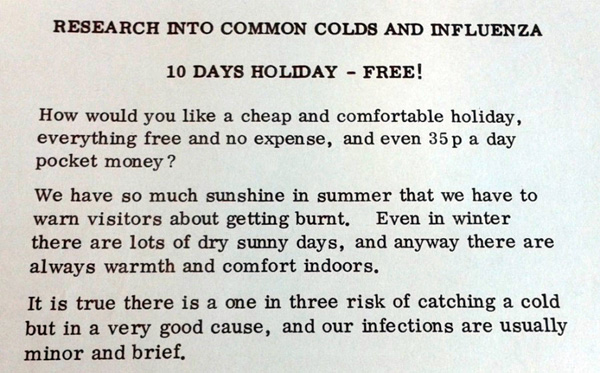 Flier for common cold trials