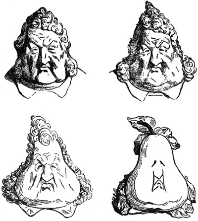 "Honoré Daumier's ""Les poires"" (""The Pears""), published 1831 in La Caricature. Redrawn by Daumier for publication after Charles Philipon´s original pen and bister-ink sketch ""La Métamorphose du roi Louis-Philippe en poire"" (""The Metamorphosis of King Louis-Philippe into a Pear"")"